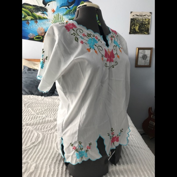 Tops Vintage Embroidered Peasant Top 70s Mexican Blouse Poshmark